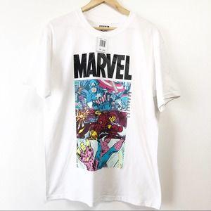 New Marvel Avengers White T-Shirt Size Large